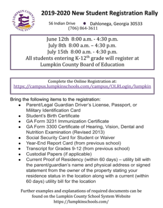 2019-2020 New Student Registration Rally