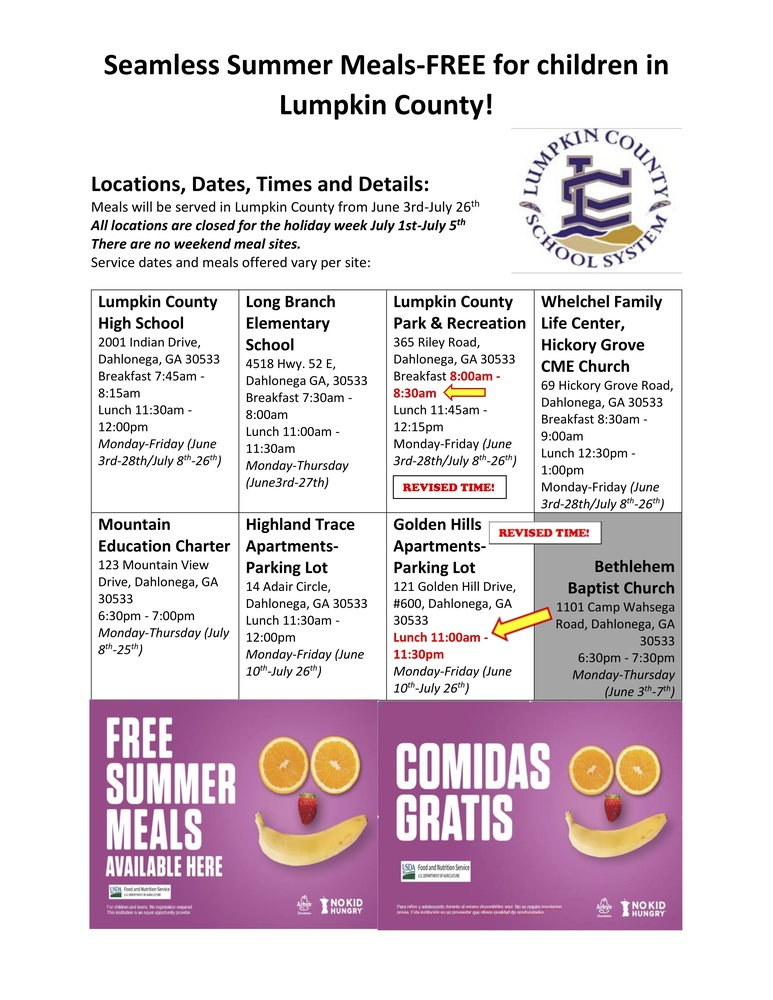 Summer Meals for 2019 (Revised Times!)