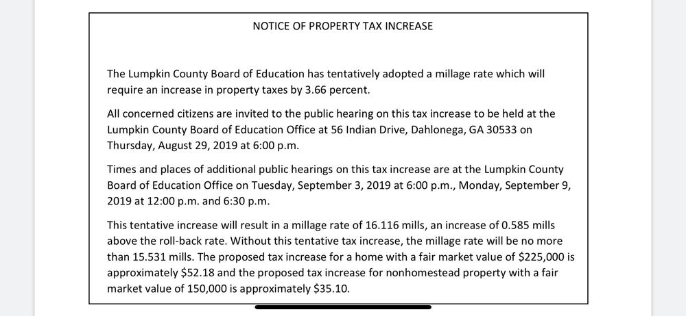 Public Hearings for Tax Increase
