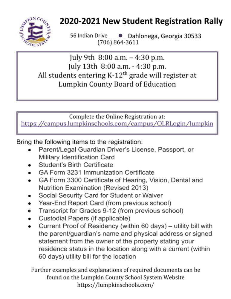 2020-2021 New Student Registration Rally