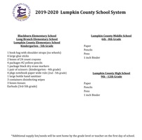 School Supply List for 2019-2020