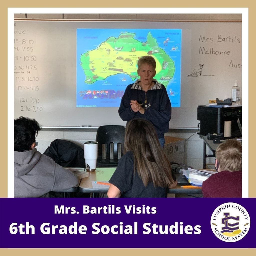 Mrs. Bartils, our bookkeeper, taught about Australia, her home country, today in sixth-grade Social Studies.