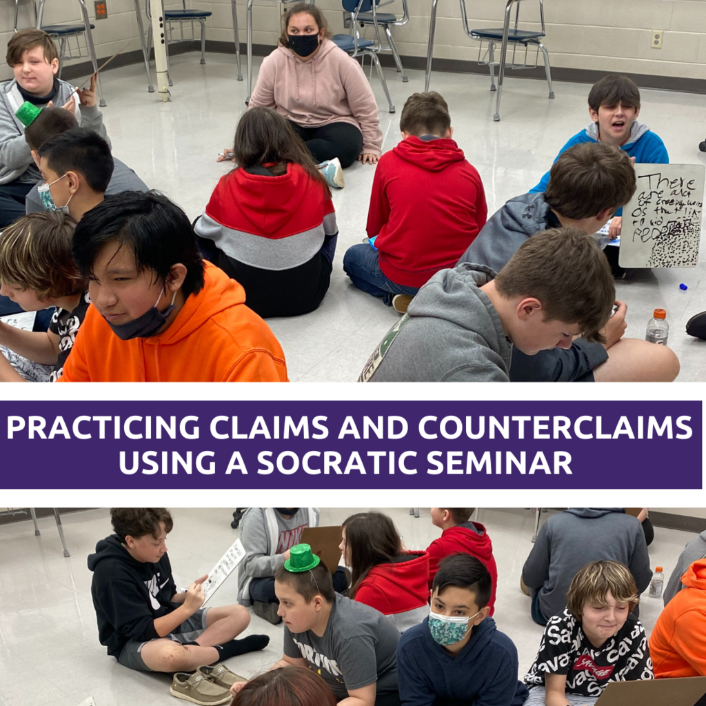 Grade 7 ELA students practicing claims and counterclaims using a Socratic seminar.
