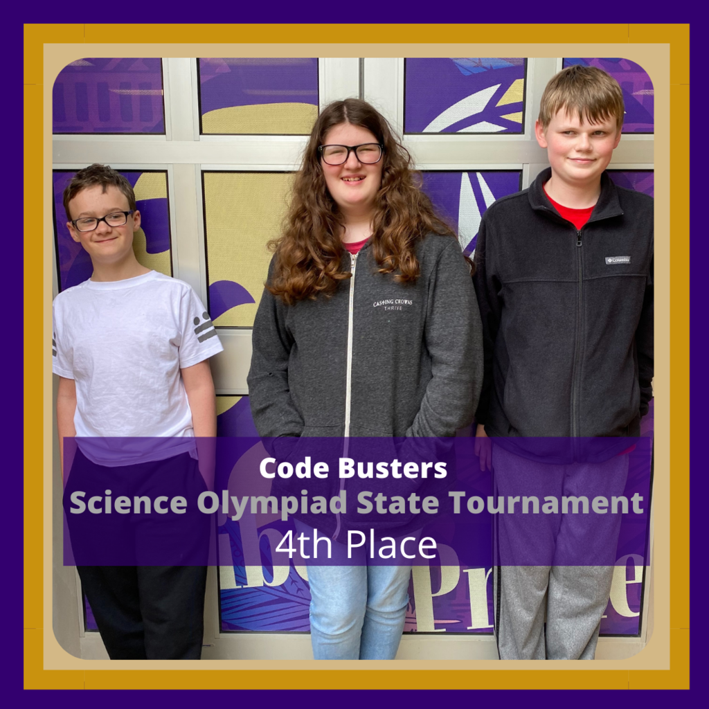 Science Olympiad Students in 4th place for Code Busters