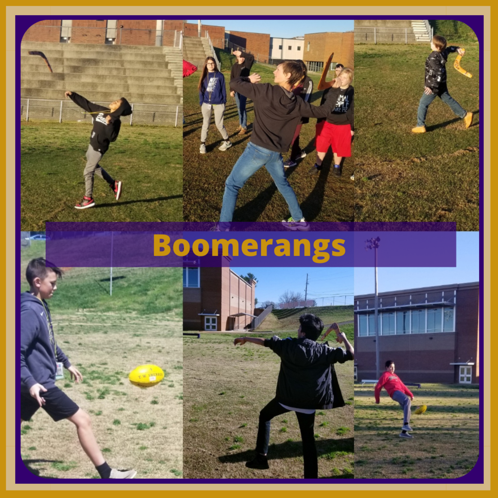 Grade 6 Social Studies students throwing boomerangs and learning Aussie Rules Football to close out their learning about Australia.