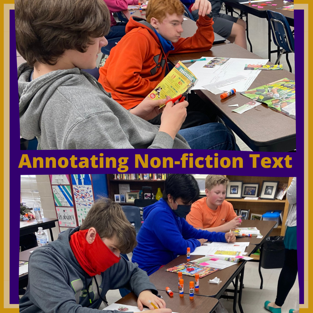 Grade 7 practicing annotating nonfiction articles in ELA ACE class.