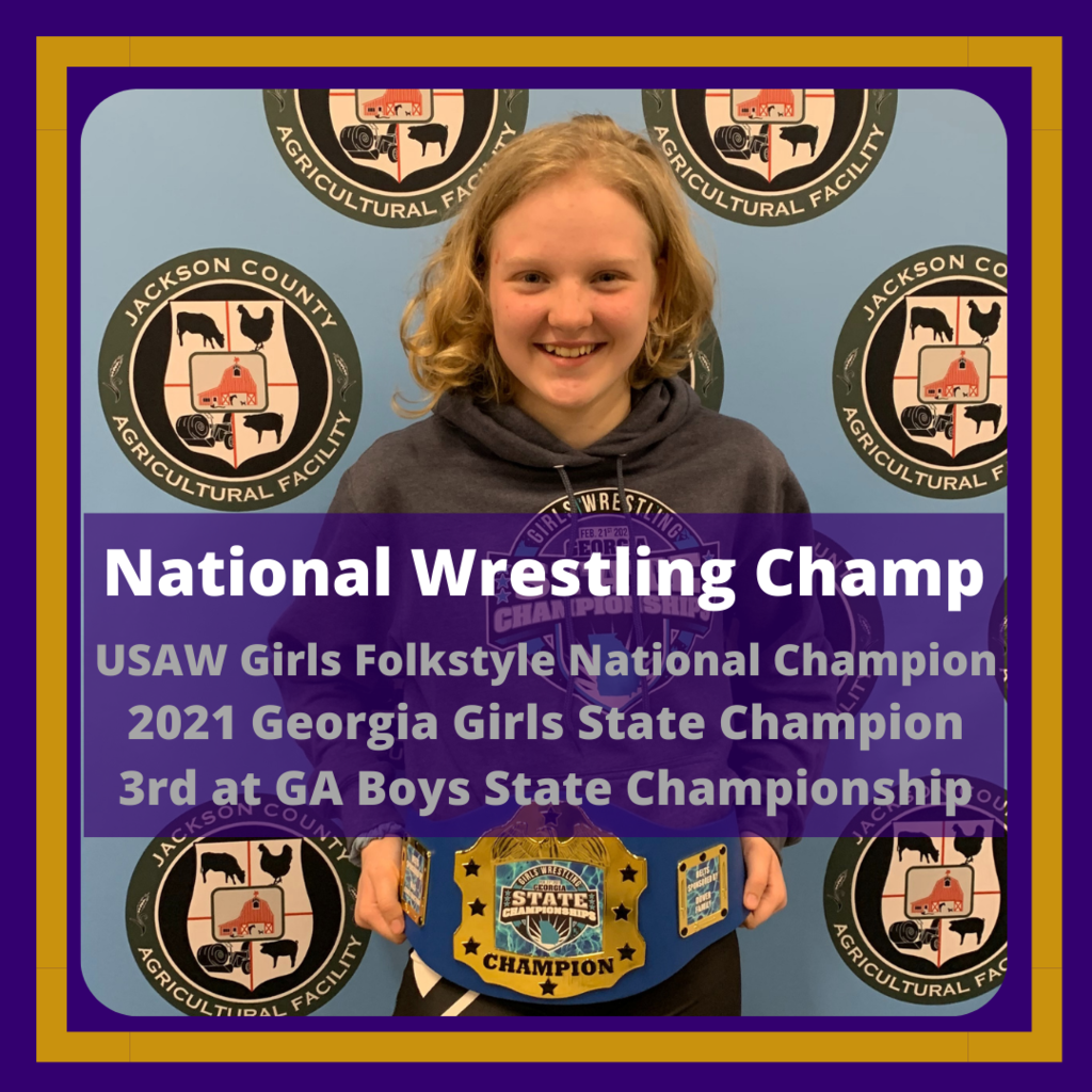Greta Garbuzovas with her state champion belt.