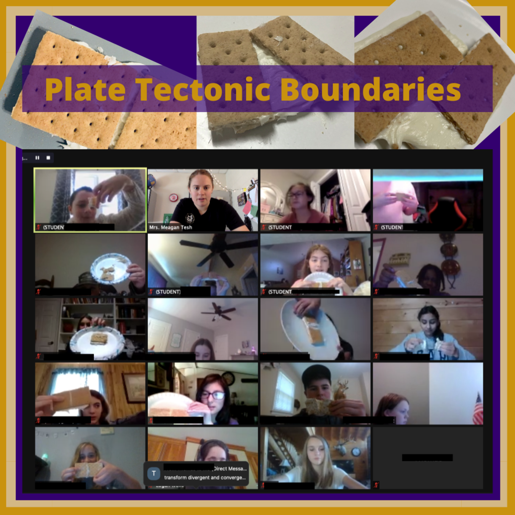 Students showing  the movement of tectonic plates using frosting and graham crackers on Zoom.