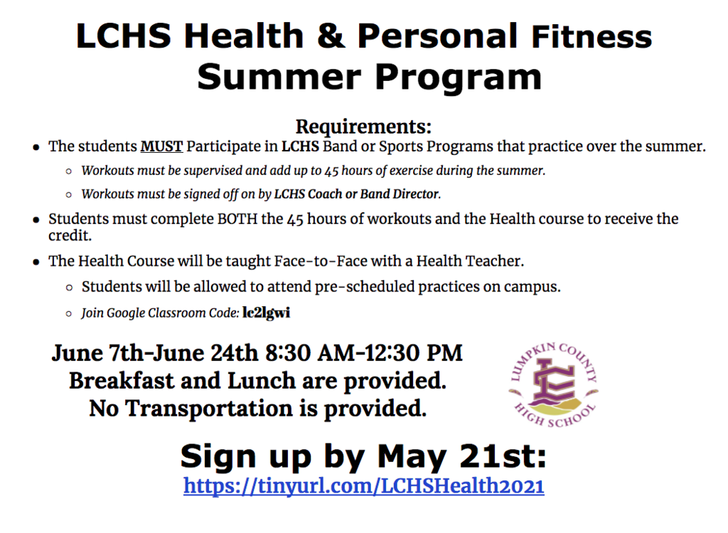 LCHS Health & Personal Fitness  Summer Program Flyer