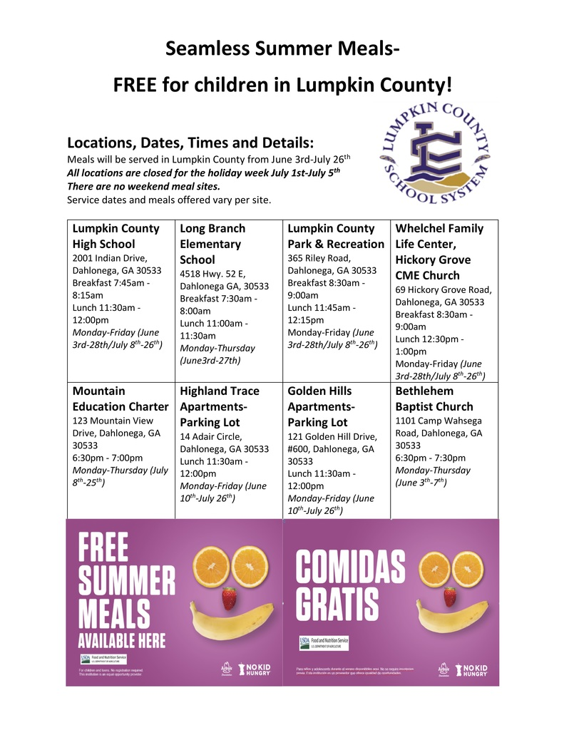 Summer meal schedule and locations