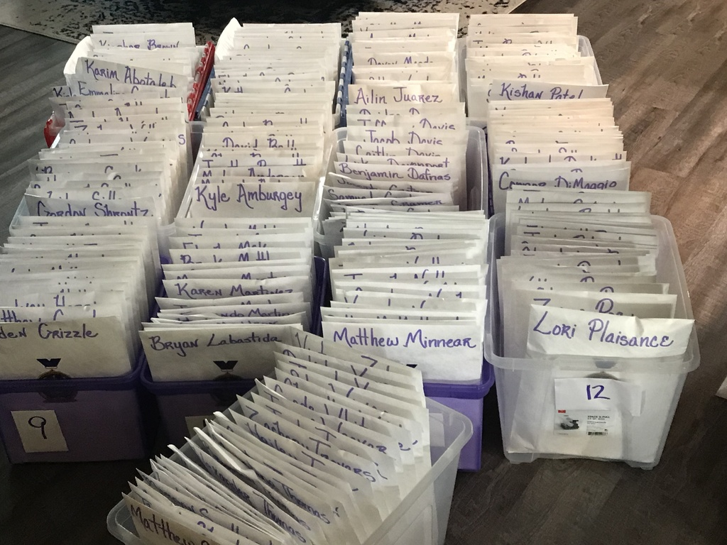 Senior letters organized in bins