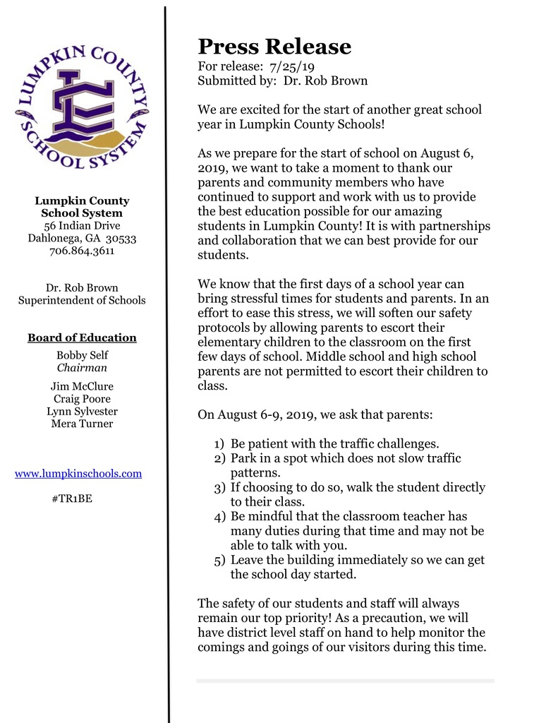 Press Release First Day of Schools