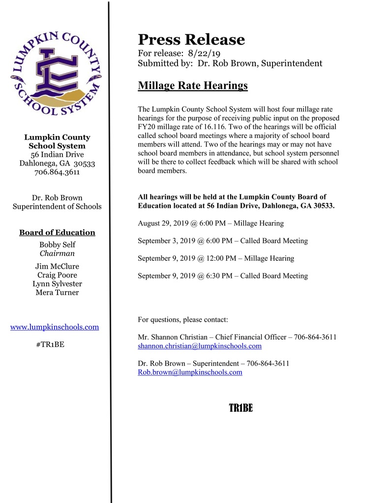 Press Release Millage Hearings