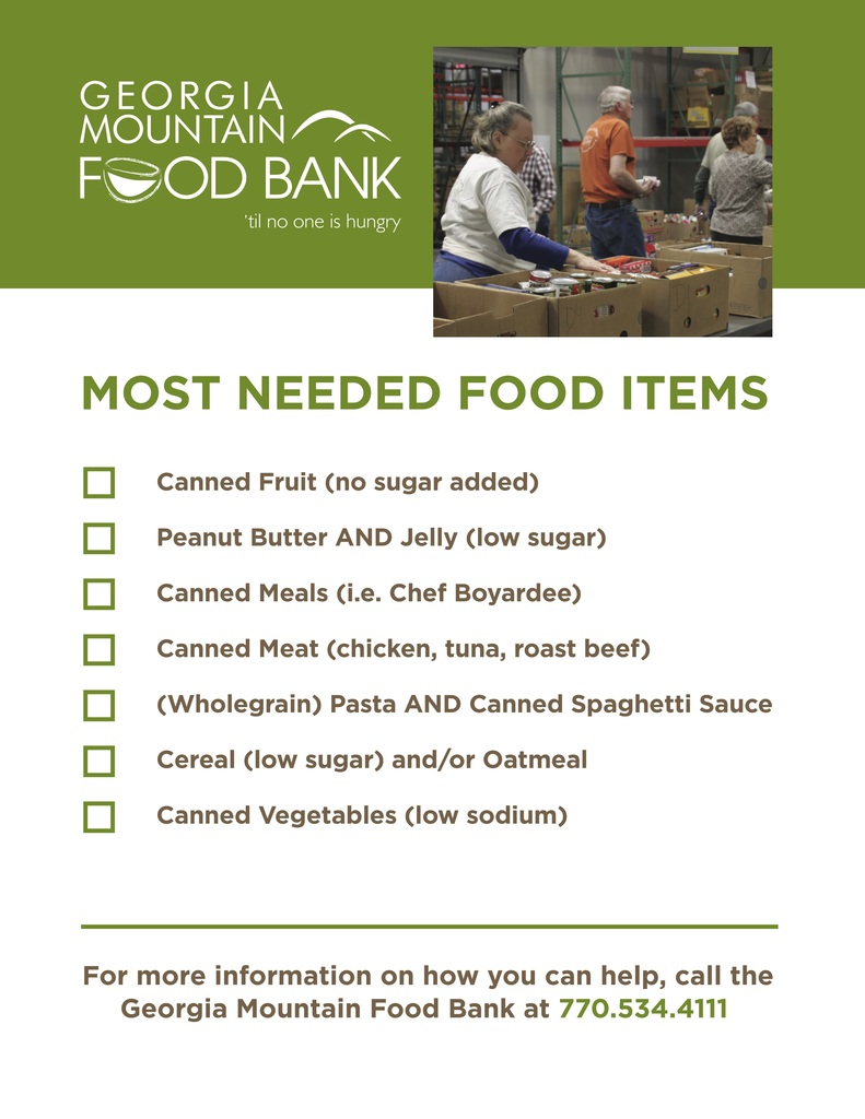 Food items needed