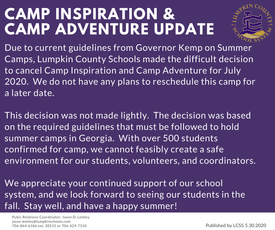 Camp Announcement