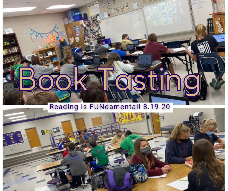 Students engaged in ELA book tasting in the classroom and in the LCMS commons area.