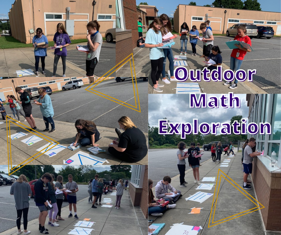 Outdoor math exploration: Students working on triangle problems outside on the sidewalk.