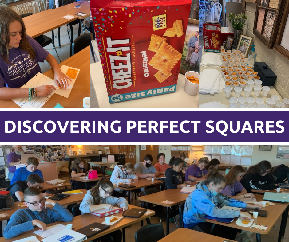 Students in math class using Cheez-it crackers to make perfect squares.