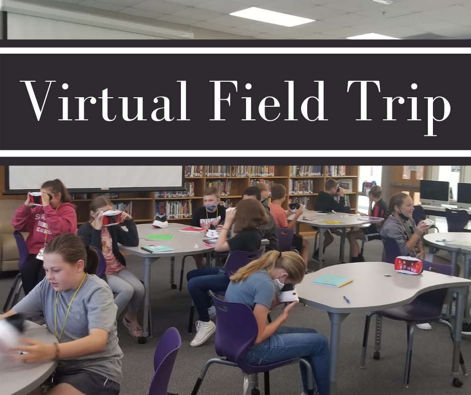 Sixth-grade students using virtual reality to take a field trip.